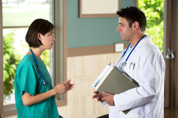 Doctor and nurse working together.