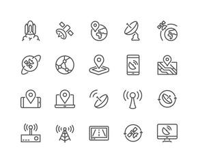 Line Satellite Icons