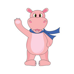 Hippo in a scarf on a white background in vector