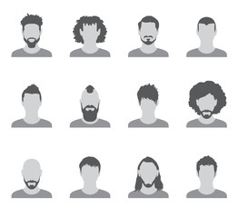 Set of black and white silhouettes of avatar men on a white background, vector illustration