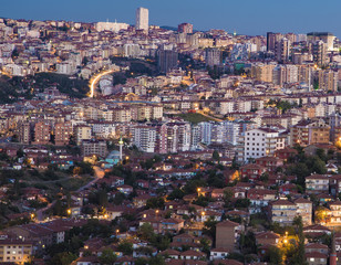 View of Ankara city from high point at sunset
