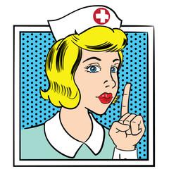 Illustration representing nurse woman making silence sign, pop art style