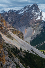Beautiful mountain landscape in the dolomites, Fanes-Sennes-Prags, Italy
