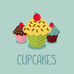 Cute cartoon-style illustration with three cupcakes.