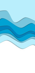 Blue curve wave line background, ice and water in paper cut style. Space for text. Cropped with Clipping Mask