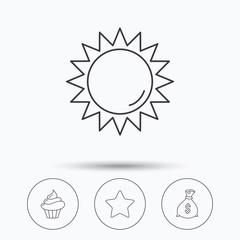 Sun, star and cupcake icons.