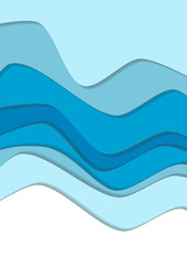 Blue curve wave line background, ice and water in paper cut style. Cropped with Clipping Mask