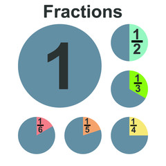 Circle fraction vector parts diagram
