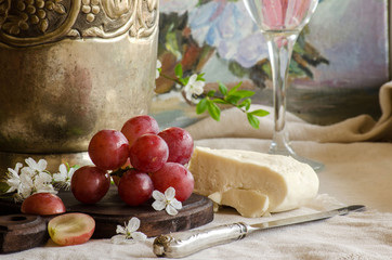 The grapes and goat cheese in the vintage interior.