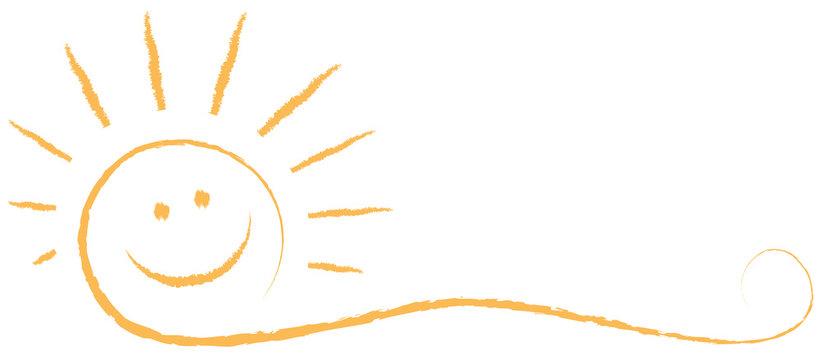 Lachende Sommer Sonne mit Sonnenstrahlen