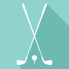 Golf clubs and ball vector icon with long shadow.