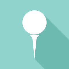 Golf ball vector icon with long shadow.