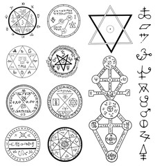 Mystic set with magic circles, pentagram and symbols