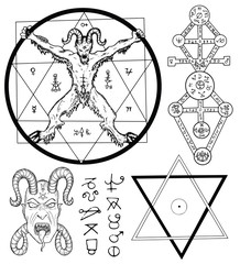 Set with Devil, Satan, pentagram and mystic symbols