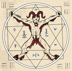 Circle with Devil or demon with pentagram inside