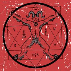Devil with pentagram on red textured background