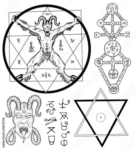 Set With Devil Satan Pentagram And Mystic Symbols Stock Image And