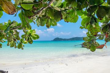Sea beach colorful white sand smooth silvan at lipe island