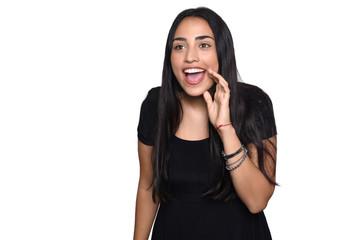 Latin woman surprised