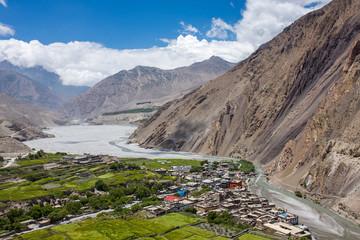 View on the Kagbeni village in the Himalayas, Nepal. Annapurna cirkut trek.