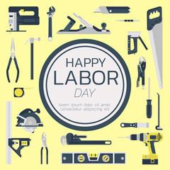 Happy labor day greeting card concept illustration on yellow