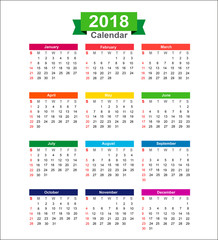 2018  Year calendar isolated on white background vector illustra