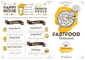 Restaurant fast food cafe menu template flyer vintage design vector illustration