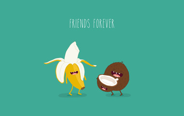 Funny picture. Banana with coconut. Vector illustrations.