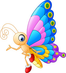 Cute butterfly cartoon presenting