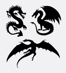 Dragon fantasy design silhouette. good use for symbol, sign, logo, web icon, mascot, sticker design, or any design you want.