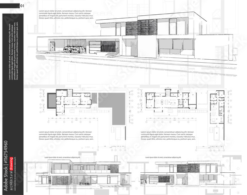 Wireframe blueprint drawing of 3D building, house. Vector ...