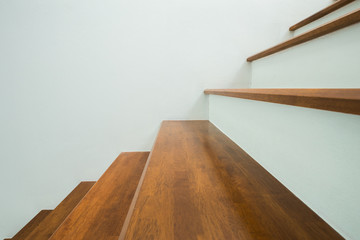wooden stairs in home