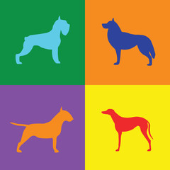 Four different dog silhouette on colored background