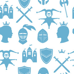 Seamless pattern with medieval icons