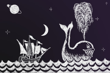 Funny chalk drawing on blackboard with sailing ship and whale 2