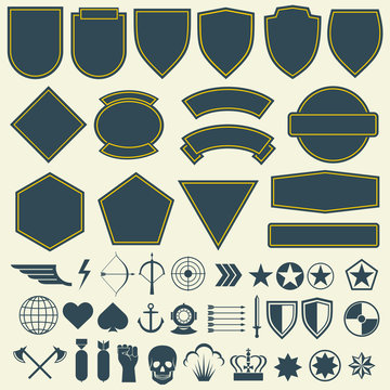Vector elements for military, army patches, badges set