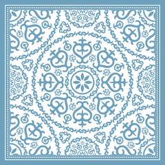 Light blue scarf design with mandala ornament. Vector illustration