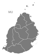 Mauritius districts  Map grey