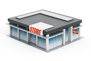 Generic store front. 3D illustration