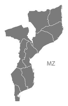 Mozambique provinces Map grey