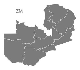 Zambia provinces Map grey