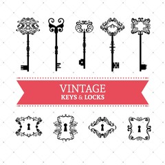 Vintage keys and locks set