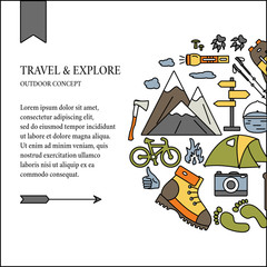 Hiking and travel outdoor concept. Colorful tourism icons with open paths. Vector illustration for flyers, banners, cards and web sites.