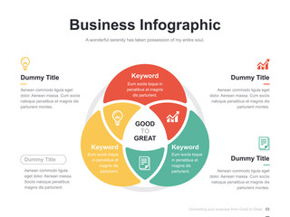Flat business presentation vector slide template with diagram chart