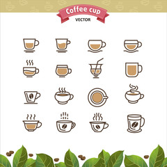 Coffee mugs and cups brown outline icons set