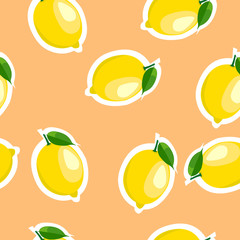 Pattern. lemon and leaves same sizes on orange background.