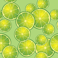 Vector illustration of lime slices on lime background in different angles. Pattern.
