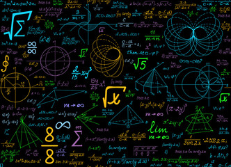 Math multicolored vector seamless pattern with geometrical plots, formulas and calculations. Education colorful endless texture. You can use any color of background