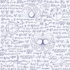 Math vector seamless texture with various mathematical signs, calculations, formulas, equations, figures. Algebraic endless pattern, handwritten on a grid copybook paper