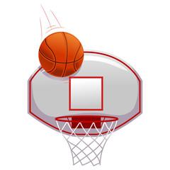 Vector Illustration of Basketball shot on Ring